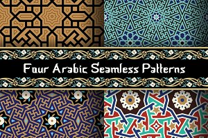 4 different Arabic seamless patterns