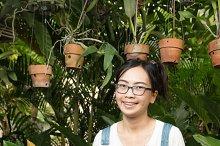 Woman gardening equipment