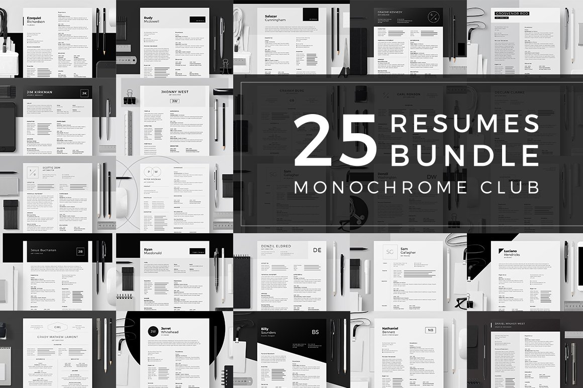 25 Resumes Bundle - Monochrome Club ~ Resume Templates ~ Creative ...