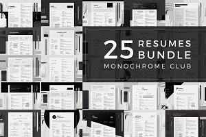 25 Resumes Bundle - Monochrome Club