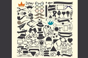 Vector illustrations. Hipster style.