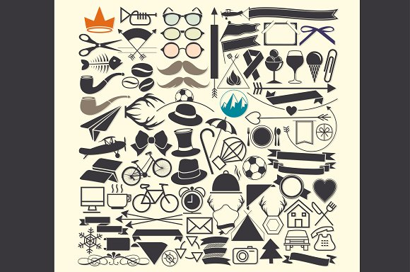 Vector illustrations. Hipster style. - Icons