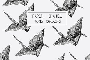 paper cranes hand drawing (origami)
