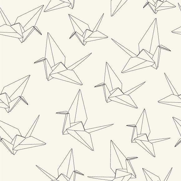 Paper Cranes Hand Drawing Origami Graphic Patterns Creative Market