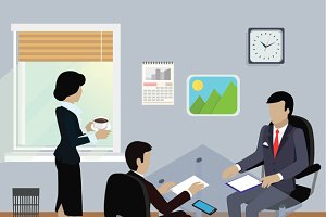 Isometric Business Meeting in Office