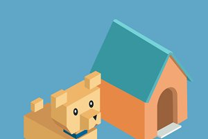 Pets Dog Icon Isometric 3d Design