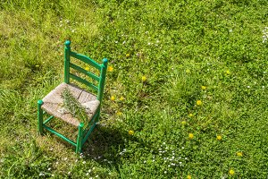 Old wooden chair in meadow