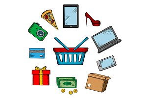 Trading and online shopping icons