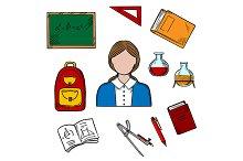 School teacher and education icons