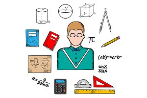 Mathematician profession icons