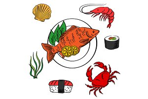 Seafood delicatessen icons