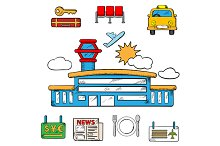 Airport and flight service icons
