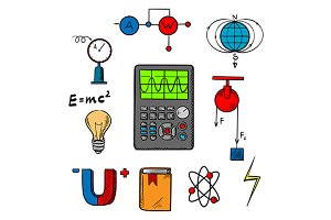 Physics science icons and objects
