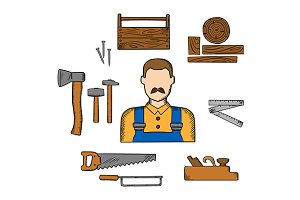 Carpenter with timber and tools