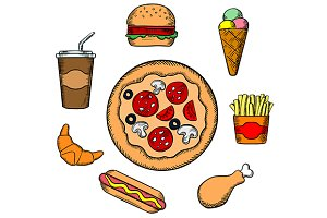 Fast food and snacks icons
