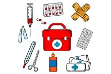 Ambulance and medical objects icons