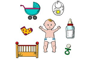 Colorful childish and baby icons