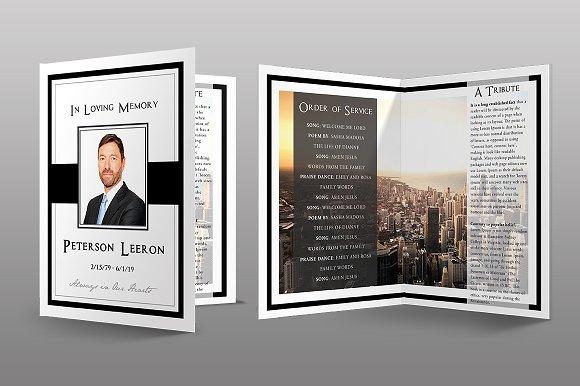 Black Modern Funeral Program Brochure Templates Creative Market