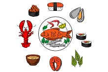 Seafood, fish and condiment elements