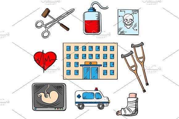 Hospital and medicine icons