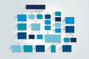 Flowchart. Blue color.