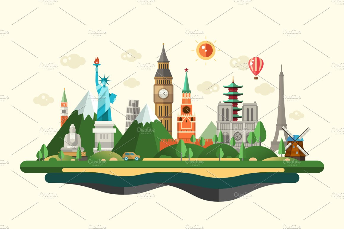 Travel Banner With Famous Landmarks Illustrations Creative Market