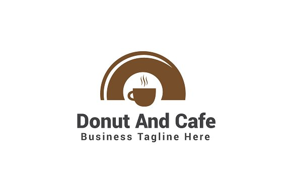 Donut And Cafe Logo Template Logo Templates Creative Market