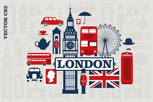 London vector illustration set