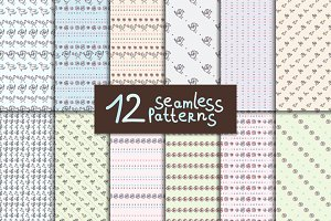12 seamless hand-drawn patterns.