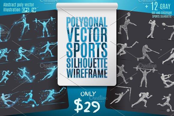 Polygonal Sports Silhoette Wireframe