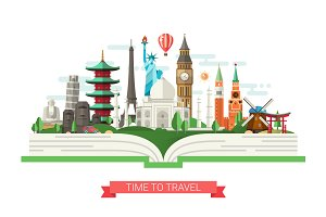 Travel Banner with Famous Landmarks