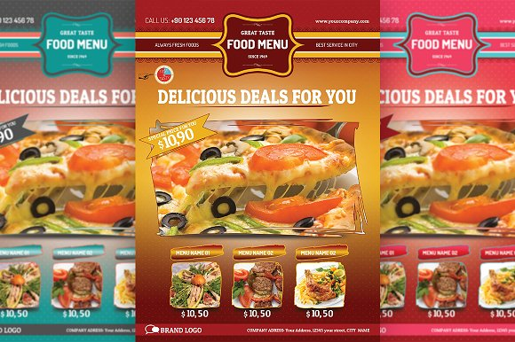restaurant food menu flyer flyer templates creative market