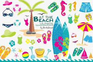 At the Beach - Summer Cliparts