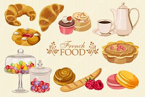 Set of French sweet food icons.