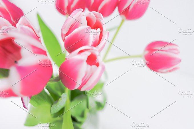 Bouquet Pink Tulips.Flatlay/hero - Beauty & Fashion