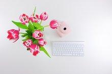 Flowers,Instax,Keyboard. Flatlay