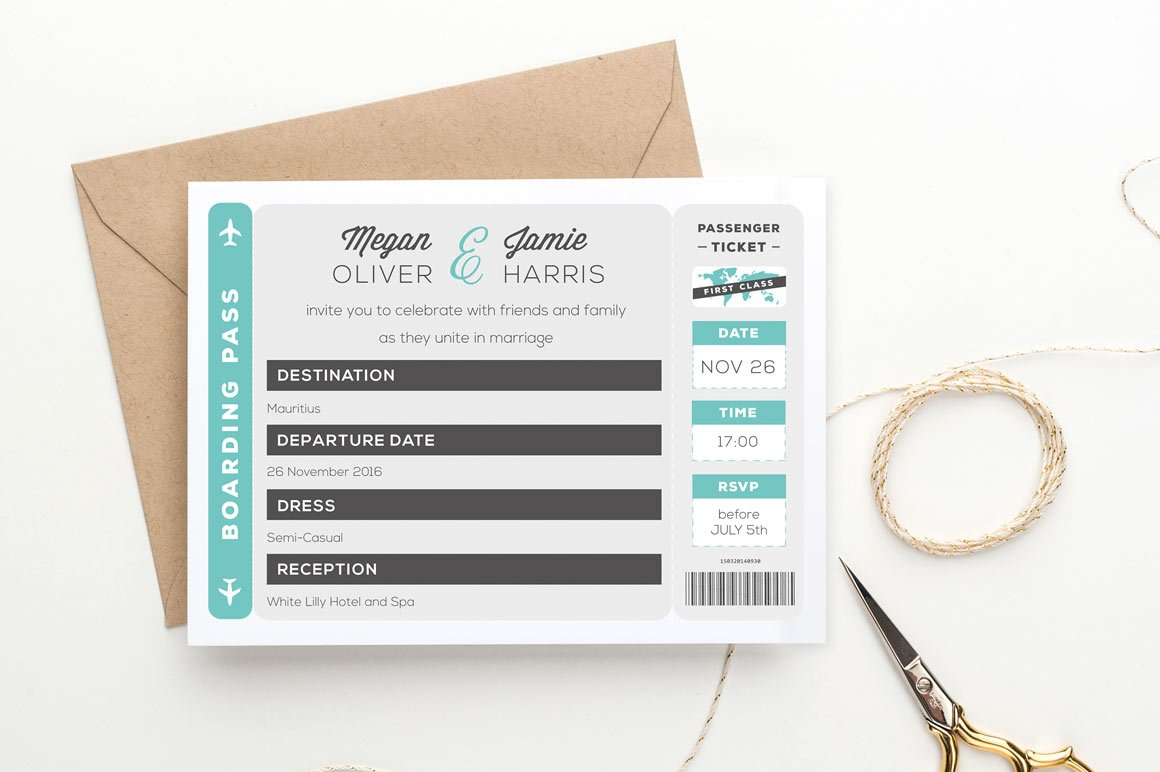 Boarding Pass Wedding Invitation Invitation Templates Creative - Wedding invitation templates: boarding pass wedding invitation template