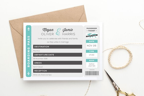 Boarding Pass Wedding Invitation By ClementineCreative In Templates Invitations