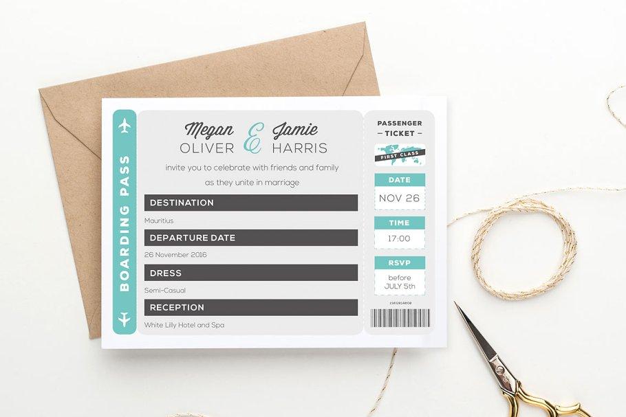 Boarding Pass Wedding Invitation Wedding Templates