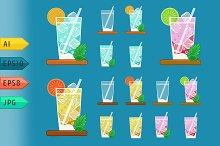 Summer lemonades glasses with fruits