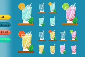 Summer lemonades glasses with fruits