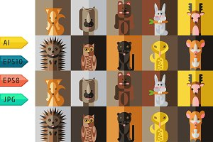 Vector dfferent forest animals.