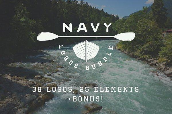 Set of vintage navy emblems