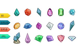 Cartoon vector gems and diamonds.