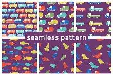 Set of seamless children's patterns