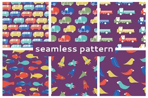 Set of seamless children's patterns