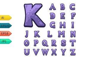 Violet stone game alphabet.