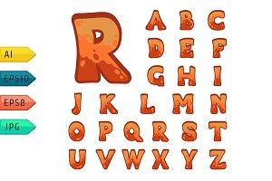 Red stone game alphabet.