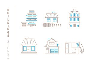 Buildings iconset lineart