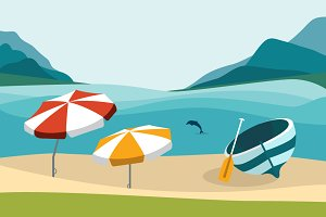 Summer beach illustration.